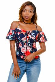 Cold Shoulder Floral Short Sleeved Top