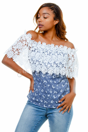 Floral Crochet Off Shoulder Top
