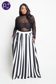 Plus Size Referee Striped Scuba Maxi Skirt