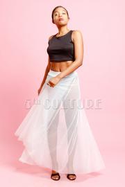Mesh Flared Maxi Skirt