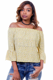 Wide Neck Ditsy 3/4 Sleeved Top