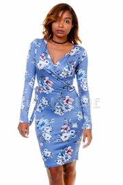 Long Sleeved Surplice Floral Bodycon Dress