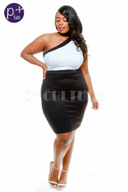 Plus Size One Shoulder Two Toned Bodycon Dress