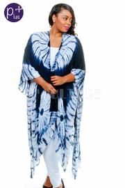 Plus Size Tie Dye Kimono Long Cardigan