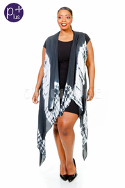 Plus Size Asymmetrical Tie Dye Long Vest Cardigan