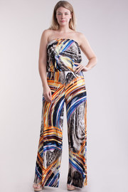 Plus Size Colorful Abstract Strapless Palazzo Jumpsuit