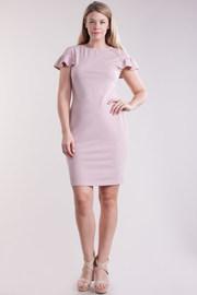 Plus Size Flounce Short Sleeved Midi Tube Dress