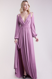 Cutout Long Sleeved Cocktail Maxi Gown