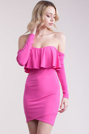 Flounce Off Shoulder Long Sleeved Mini Dress