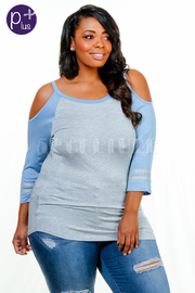 Plus Size Open Shoulder Jersey Top