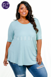 Plus Size Scoop Neck Solid Cross Straps Back Top