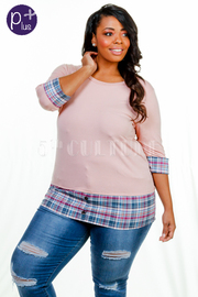 Plus Size Plaid Hemline Detail Solid Top
