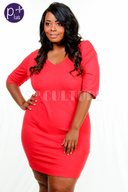 Plus Size V-neck Solid Bodycon Dress