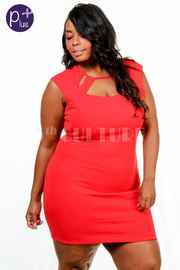 Plus Size Cutout Solid Tube Bodycon Dress