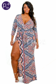 Plus Size Mixed Aztec Printed Surplice Slit Maxi Dress