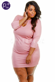 Plus Size Caged Sliced Solid Tube Dress