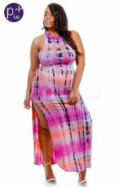 Plus Size High Neck Tie Dye Slit Side Maxi Dress