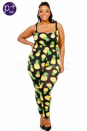 Plus Size Juicy Pineapple Printed Fit Jumpsuit
