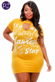 Plus Size Keyhole Slay Flawless Style Words Tube Dress