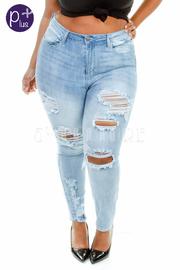 Plus Size Destroyed Light Denim Jeans