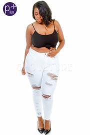 Plus Size Snagged Skinny Denim Jeans