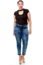 Plus Size Stylish Washed Denim Jeans