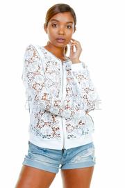 Crochet Floral Zip Down Jacket