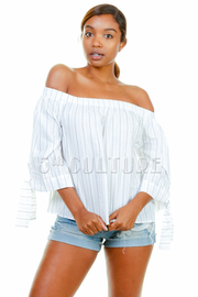 Off Shoulder 3/4 Sleeved Striped Top