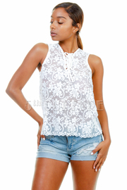 Tie Chest Laced Top