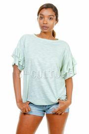 Ruffled Short Sleeved Basic Top
