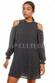 Polka Dot Open Shoulder Tunic Dress