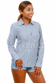Casual Collared Striped Button Shirt