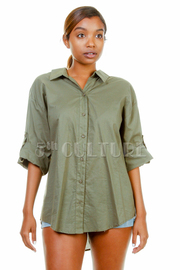 3/4 Sleeved Solid Casual Shirt