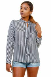 Long Sleeved Striped Collar Shirt