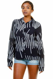 Mixed Lined Casual Blouse