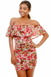 Off Shoulder Floral Tube Dress