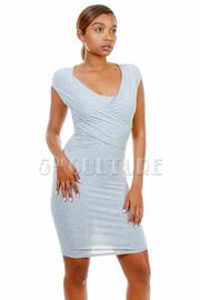 V-neck Solid Basic Midi Dress