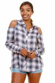 Slit Back Plaid Button Down Shirt