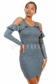 Open Shoulder Ruffle Mini Tube Dress