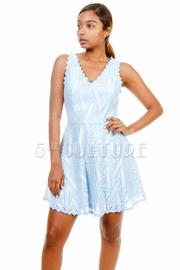 V-neck Laced Flared Dress
