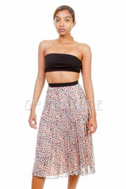 Colorful Leopard Pleated Sheer Skirt