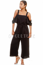 Open Shoulder Solid Woven Flared Jumpsuit