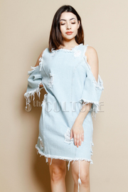 Open Shoulder Distressed Denim Tunic Dress