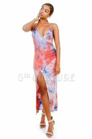 Tie Dye Summer Slit Maxi Dress