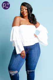 Plus Size Off Shoulder Ruffle Layered Solid Top