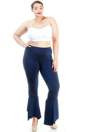 Plus Size Bell Bottom Hemline Solid Pants