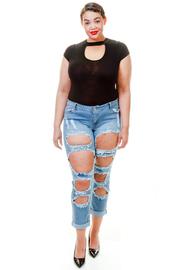 Plus Size All Over Hole Rocker Denim Jeans