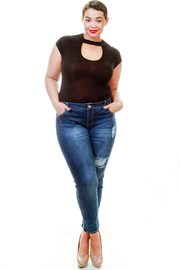 Plus Size Slim Ripped Two Hole Skinny Jeans