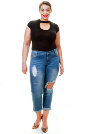 Plus Size Ripped Hole Side Skinny Jeans