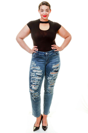 Plus Size Distressed Faded Out Jeans